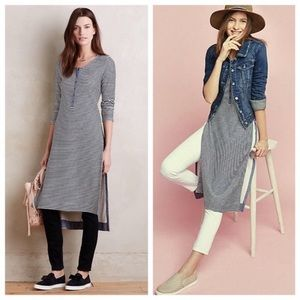 Anthropologie Striped Henley Tunic